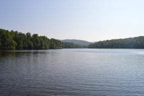 Mountain views beyond lake