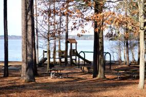 Playground next to lake