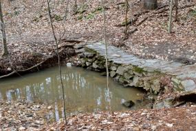 Stone bridge across small pool of water