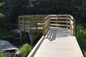 Wooden bridge with observation deck