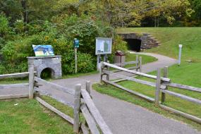 Kids in Parks trail head kiosk and interpretive sign