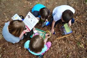 Overhead shot of kids reading through tool instructions