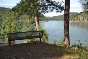 Bench with view of Pactola Lake