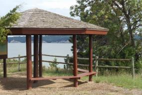 Gazebo beside lake