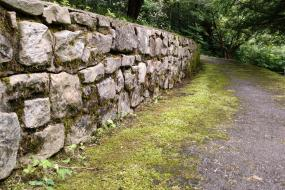 Rock wall along trail