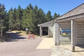View of visitor center and TRACK Trail sign