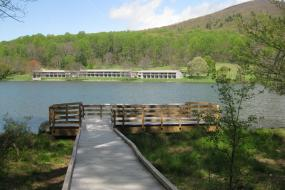 Dock on Abbott Lake and the Lodge in the background