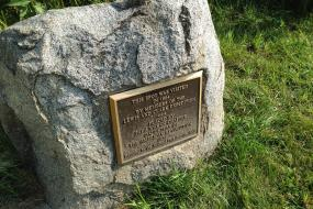 Rock commemorating the visit of the Lewis and Clark expedition to Spirit Mound