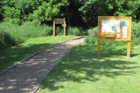 Disc golf course trail head and kiosk
