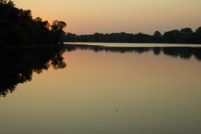 Reflections on the lake at dusk