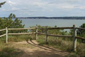 Overlook view of lake and bluffs