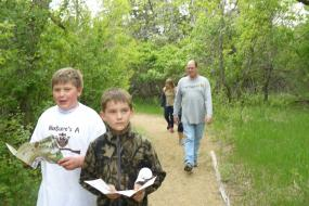 Kids hiking trail with brochures