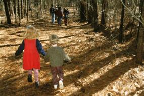 Kids running on the trail