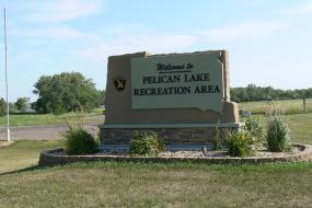 Entrance sign for Pelican Lake
