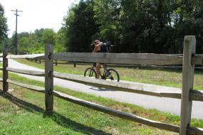 Biker on the paved trail