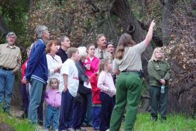 Ranger guiding a group of hikers